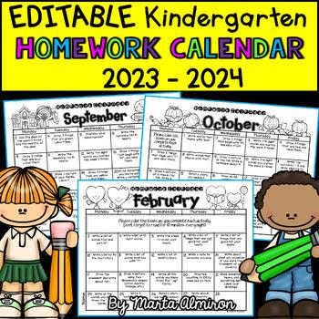 Kindergarten Homework Calendar EDITABLE by Marta Almiron ...