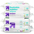 Fragrance Free Flushable Toddler Wipes - 4pk/240ct - Up&Up , Size: 240 Count