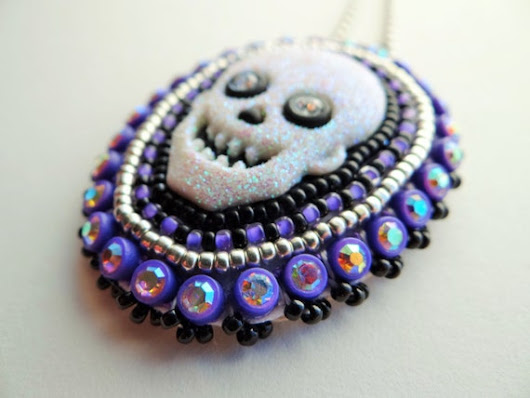 Purple Skull Necklace by ndnchick on Etsy