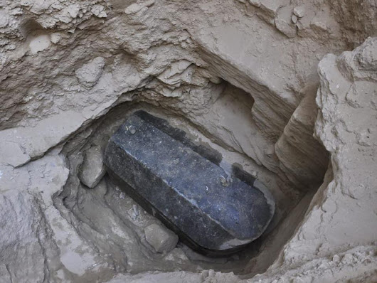 Ptolemaic-Era Black Granite Sarcophagus Discovered in Alexandria
