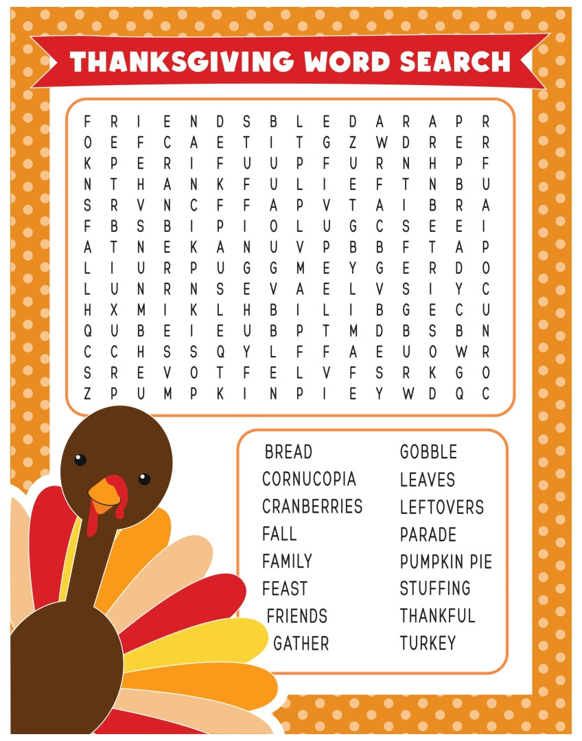 Thanksgiving Word Search Worksheets - Versaldobip