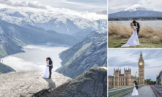Bride and groom travel the world for their wedding photos