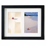 (5 by 7 Double, Black) - Lawrence Frames 765025 Lawrence Frames Black Wood Double 5x7 Matted Picture Frame