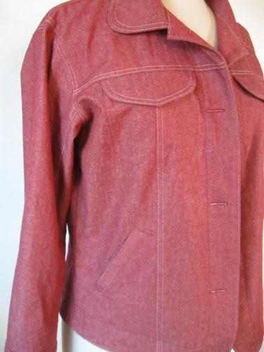 Red denim jacket close up front
