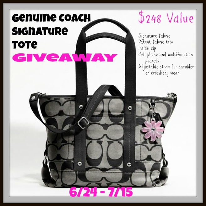 Enter to win a Coach Kyra Nylon Signature Tote, ARV $250, ends 7/15