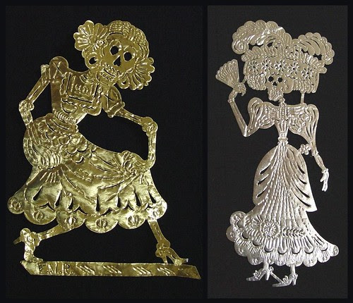 La Catrina figures after Posada from the Day of the Dead - goldfoil and silverfoil papercuts