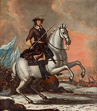 Kaarle XI Lundin taistelussa. David Klöcker Ehrenstrahlin maalaus vuodelta 1682.