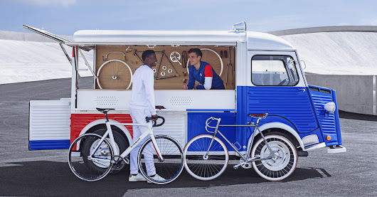 citroën X le coq sportif transform classic vans into tricolored mobile bicycle workshops