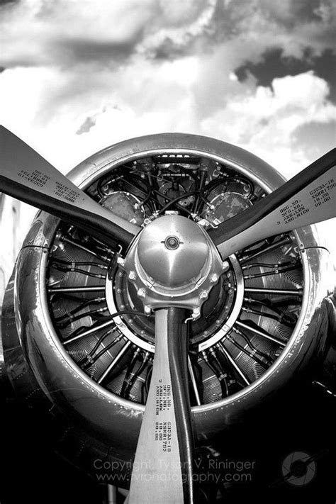 B&W Photograph of a DC-3 Radial Engine.. Check out that