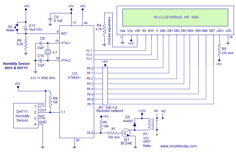 Humidity Sensor Using 8051 Hygrometer Electronic Circuit