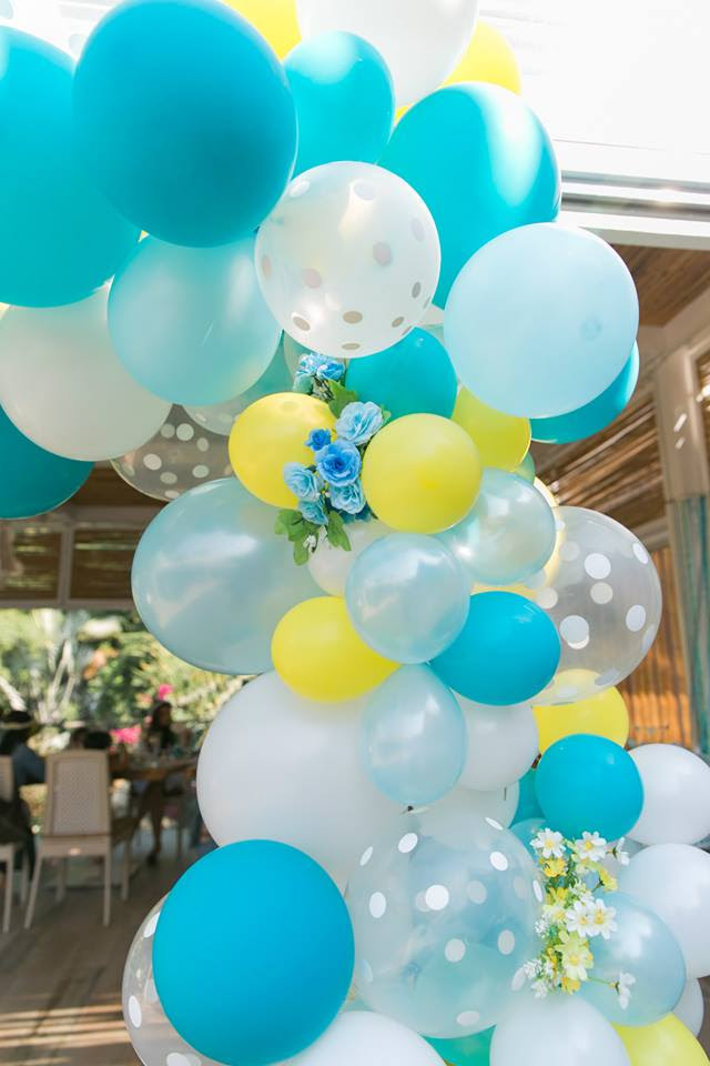 Gorgeous Baby Boy Shower Balloon Decorations Yellow Blue Decor