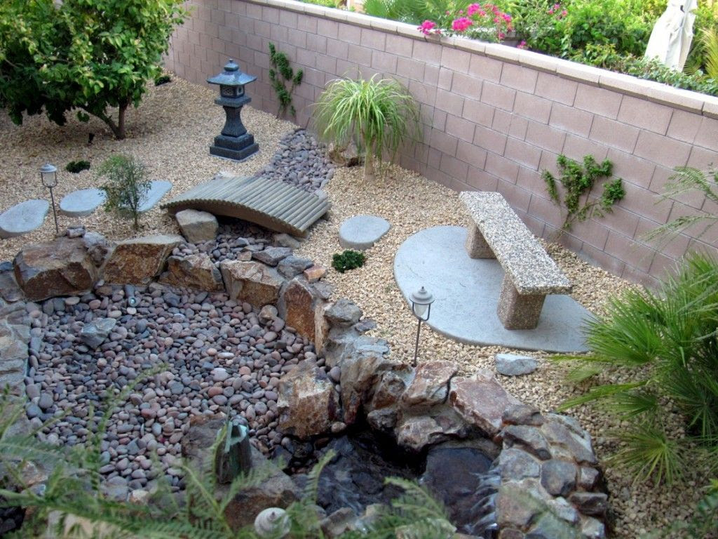 japanese garden designs for small spaces with stone bench