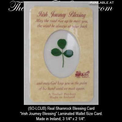 Irish Blessing Real Shamrock Journey Blessing Card
