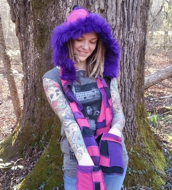29a93ee20e47 Psytrance clothing and accessories  Cheshire Cat Scoodie Patchwork Scoodie  Hippie Hood by GypsySewL