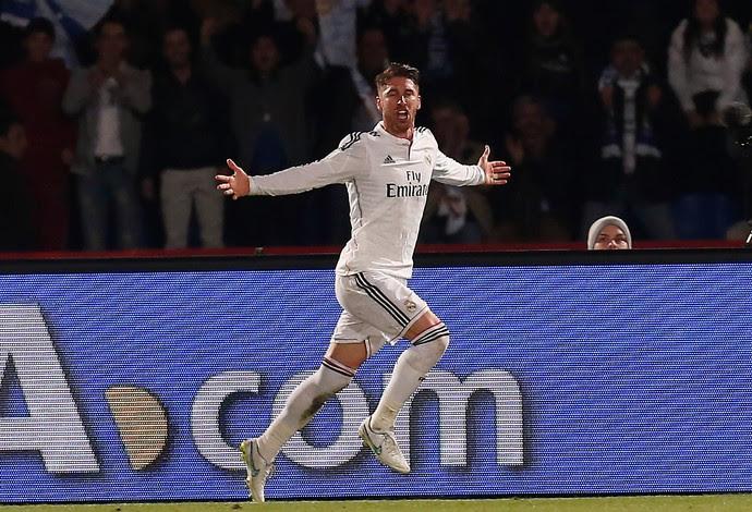Sergio Ramos, gol, Real Madrid x São Lorenzo  (Foto: Reuters)