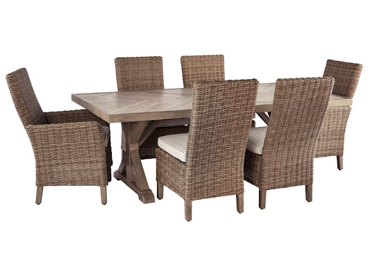 Beachcroft 7 Piece Outdoor Dining Set by Signature Design by Ashley at Lapeer Furniture & Mattress Center