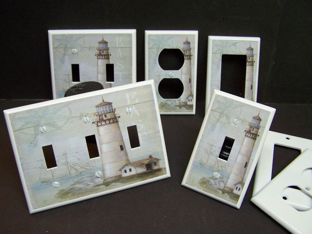 LIGHTHOUSE NAUTICAL 3 LIGHT SWITCH COVER PLATE OR OUTLET COVER  eBay