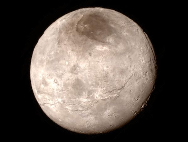 A close-up image of Pluto's largest moon Charon...as seen by NASA's New Horizons spacecraft on July 14, 2015.