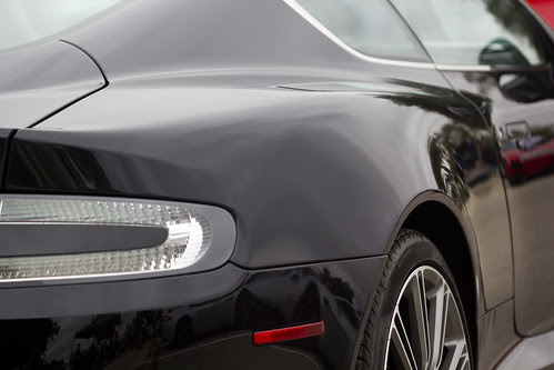 Abstract view of a black Aston Marton Virage at the Texas All British Car Day, Round Rock, Texas