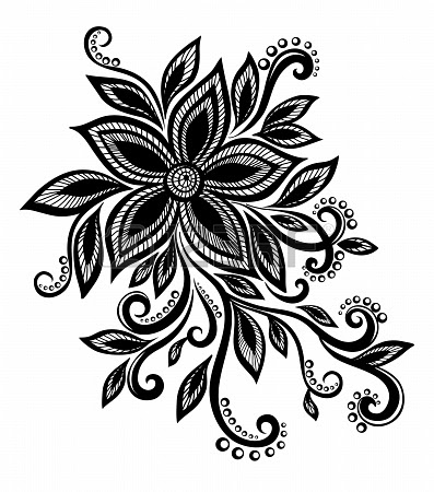 Beautiful Black And White Flower With Imitation Lace Eyelets Clip