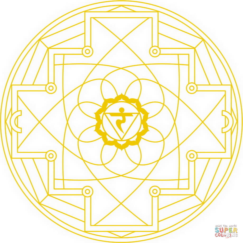 manipura chakra mandala coloring page