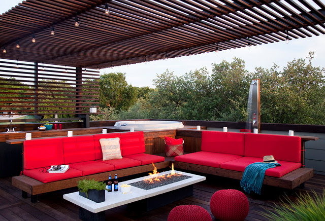 rooftop outdoor living with a hot tub and shower - modern - patio ...