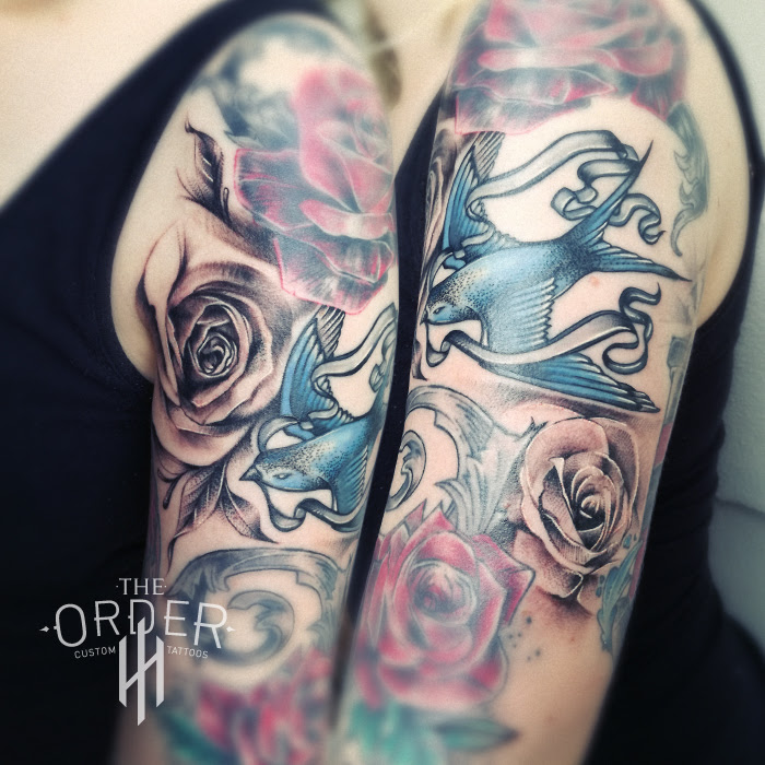 Black And Gray Roses Tattoo The Order Custom Tattoos The Order