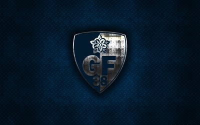 Download wallpapers Grenoble Foot 38, French football club, blue metal texture, metal logo, emblem, Grenobble, France, Ligue 2, creative art, football besthqwallpapers.com