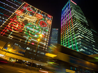 Skyscrapers decorated with Christmas lights in Hong Kong.