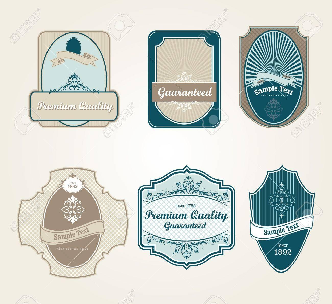 Retro Vintage Labels In Editable Vector Format Royalty Free ...