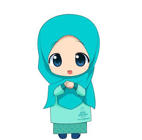 kartun chibi muslimah comel  lucu azhanco