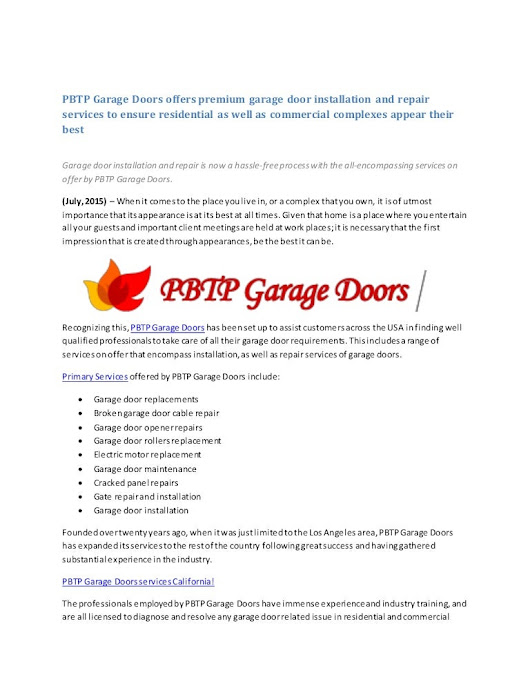 PBTP Garage Doors offers premium garage door installation and repair …
