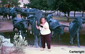 Steer sculptures in Dallas.