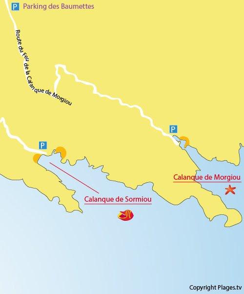 Carte de la plage de Morgiou à Marseille