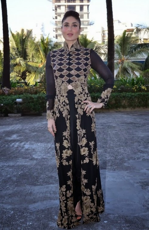 Kareena-Kapoor-Wear-Beautiful-Black-Gold-Churidar-Anarkali-Frock-Dress-by-Designer-Anamika-Khanna-9
