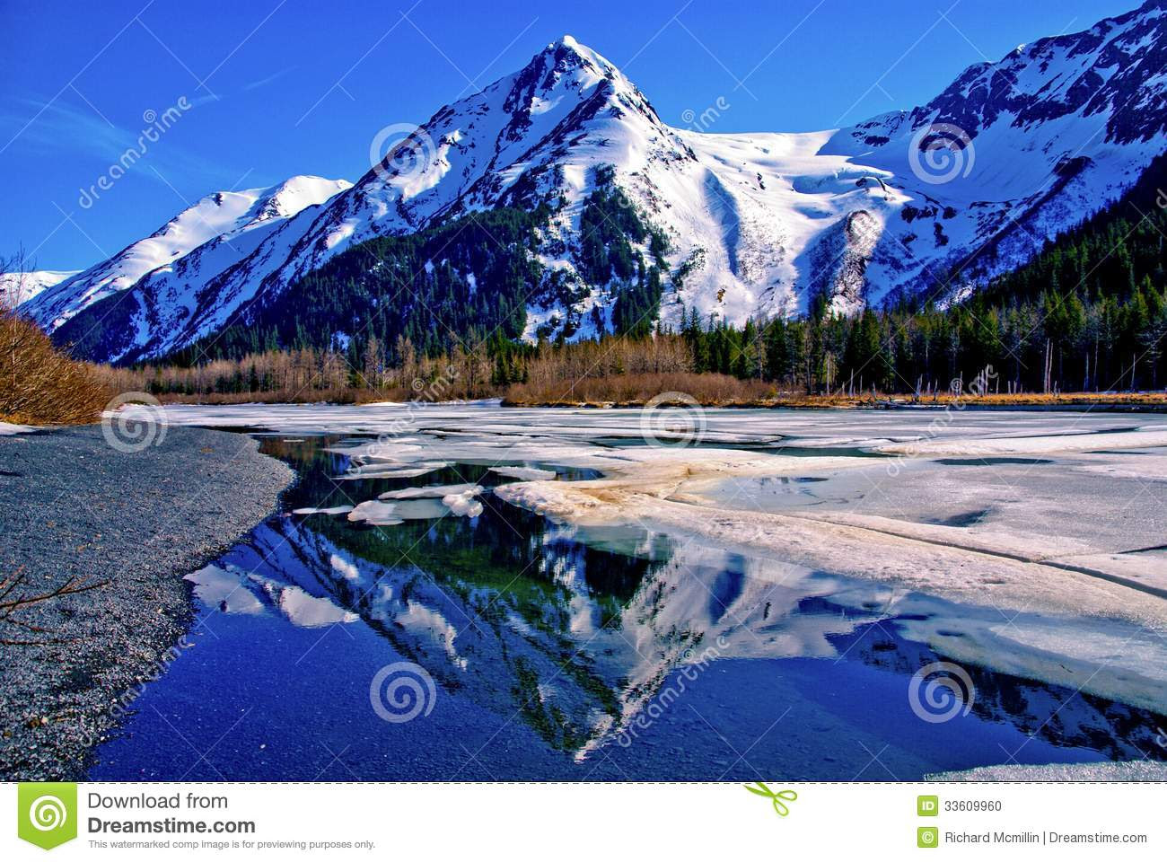 the Partially Frozen Waters of a Lake in the Great Alaskan Wilderness