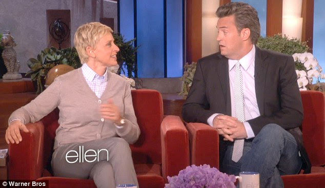 Shock: Matthew Perry and Ellen DeGeneres didn't know where to look when confronted with Jennifer's revealing outfit