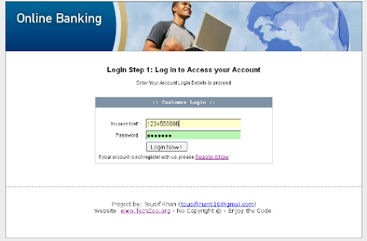 Online Banking project in PHP | TechZoo - Technology Blog