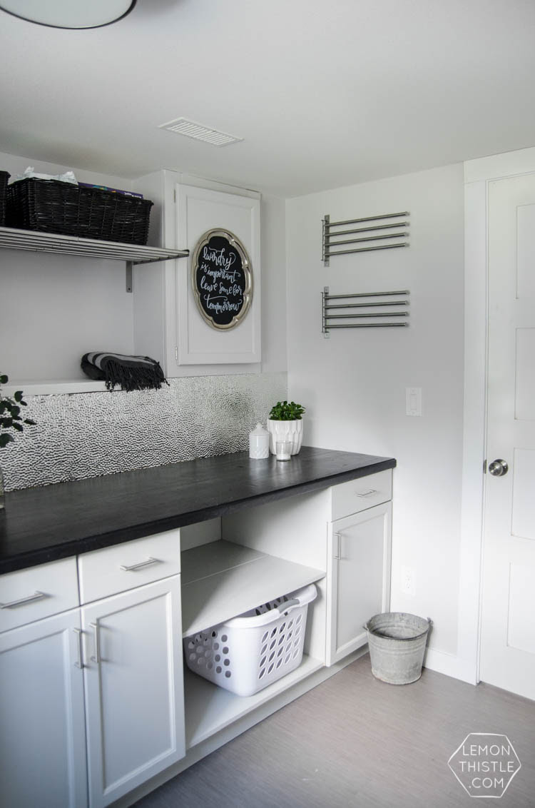 laundry room makeover - stainless steel hardware