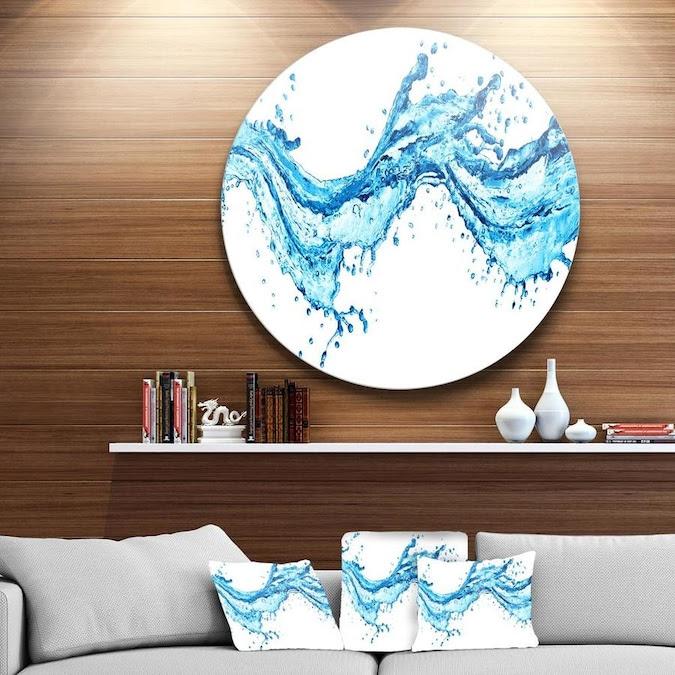 Designart Blue Water Splashes' Abstract Circle Metal Wall ...