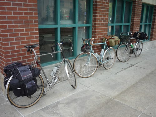 Three tall bikes in the Gumwall Gang
