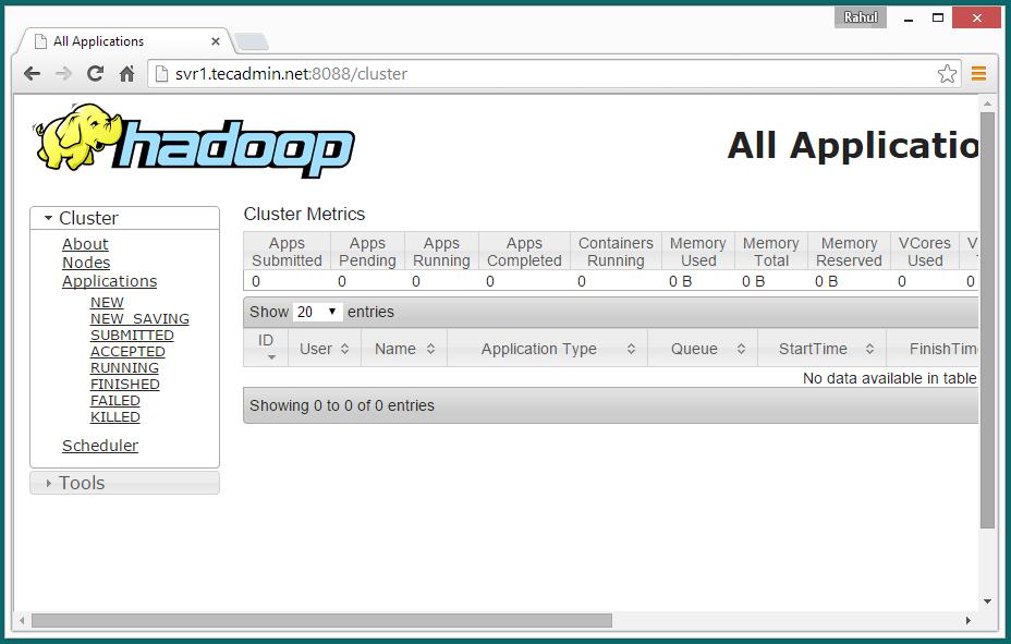 hadoop single node applications