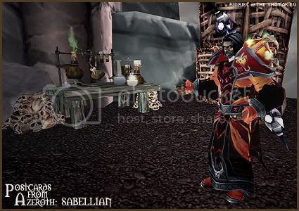 Rioriel's daily World of Warcraft screenshot presentation of significant locations, players, memorable characters and events taken on the European roleplaying server The Sha'tar, assembled in the style of a postcard series. -- Postcards of Azeroth: Sabellian, by Rioriel of theshatar.eu