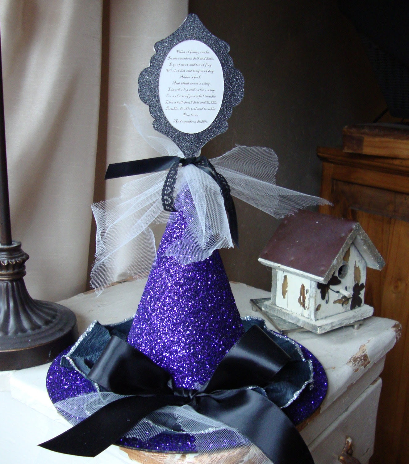 Purple and Black Glittered Witch Hat with Shakespeare Double Double Toil and Trouble quote