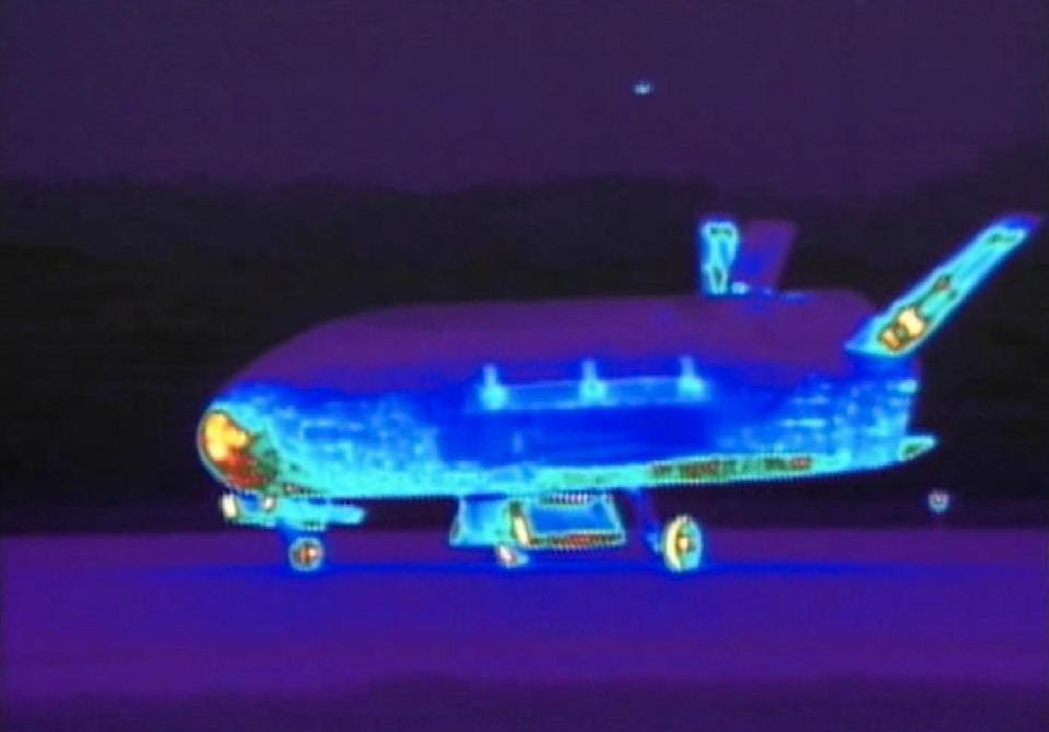 This June 16, 2012 file image from video made available by the Vandenberg Air Force Base shows an infrared view of the X-37B unmanned spacecraft...