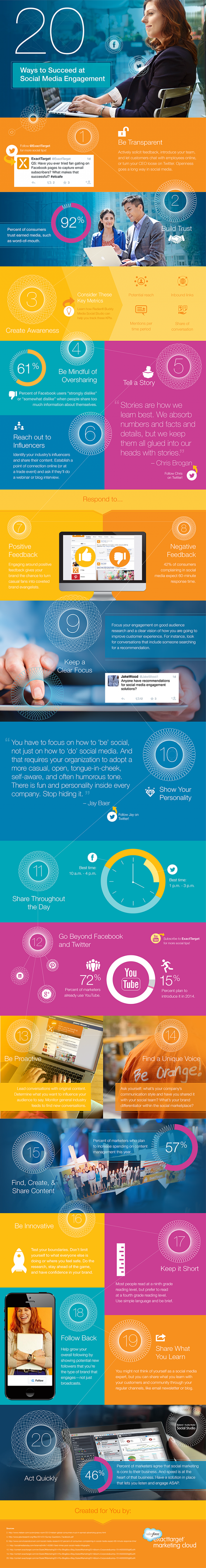 20 Ways to Succeed at Social Media Engagement - #Infographic #marketing #managesocialmedia
