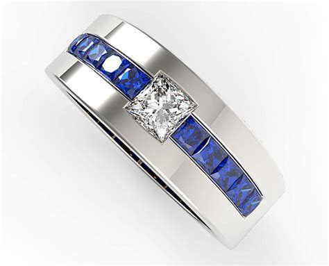Princess Cut Blue Sapphire and Diamond Wedding Band For