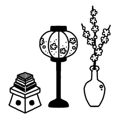 ぼんぼりひな祭り春の季節3月の行事無料白黒イラスト素材