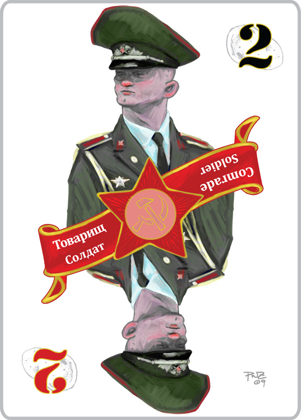 zdepski's final version of the Soldier card in Commie Spud Game