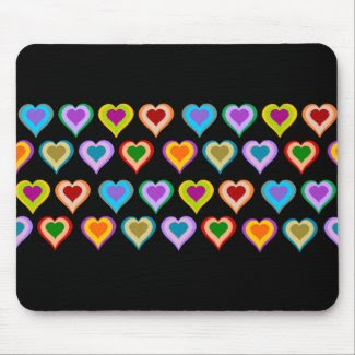 Colorful groovy heart pattern mousepad mousepad